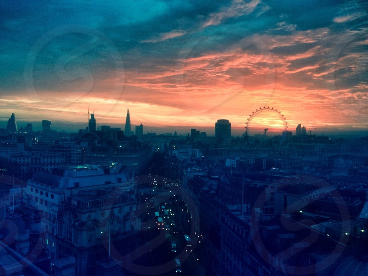 London London skyline sunrise London City London Eye photo