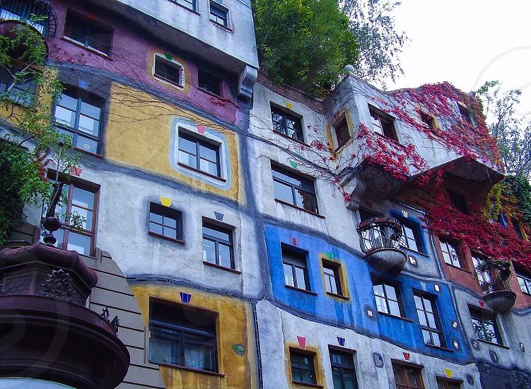 Facade on Hundertwasserhaus in Vienna  photo