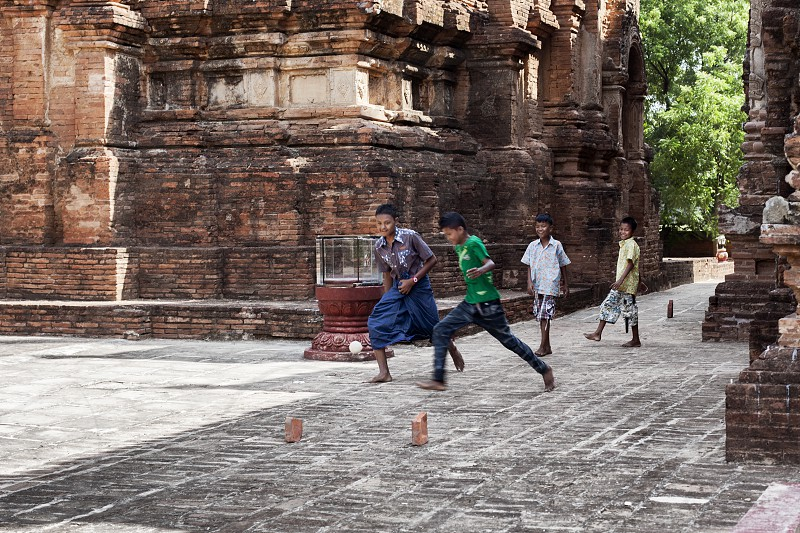playing footbal in myanmar photo