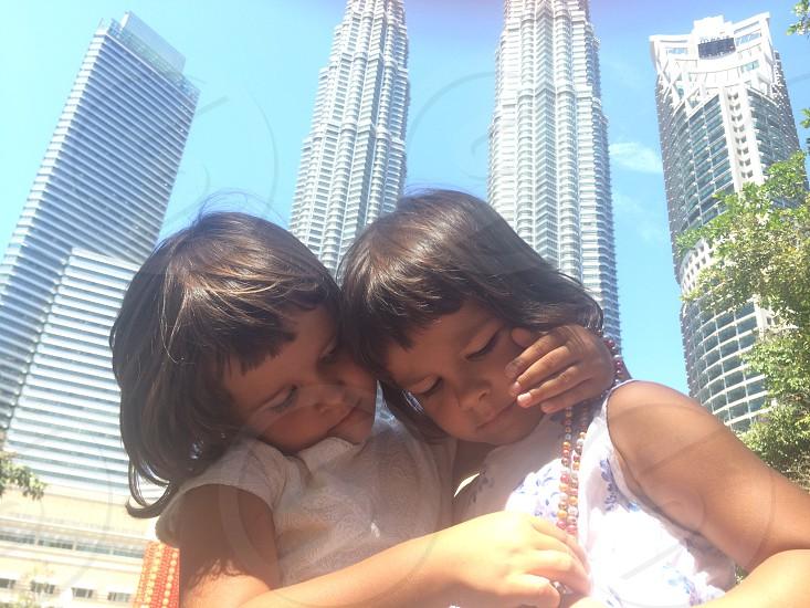 twins petronas twins Kuala Lumpur girls kids twinsisters  photo