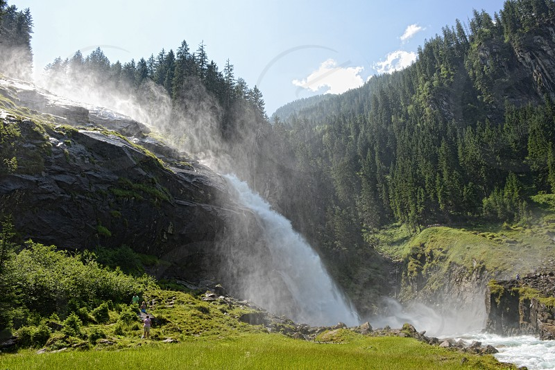 Krimml Tirol/ AUSTRIA July 17 2013: People visiting Krimml waterfalls in high taunern national park (Austria). HDR image. photo
