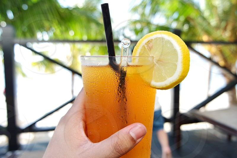 #summer #vacation #holiday #beach #view #relaxing #beverage #drinks #iced lemon tea  photo