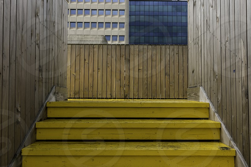 Yellow floor on the 'airbridge' in central Rotterdam the Netherlands photo