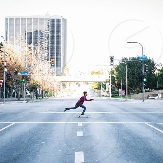 Kick and Push. Skateboarding in LA photo