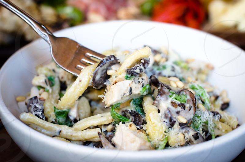 pasta salad in white bowl photo