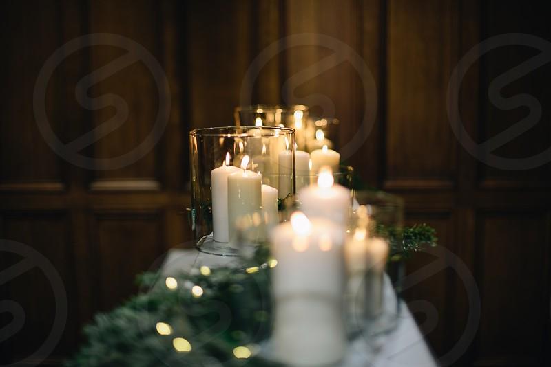 Candles Christmas church reflection light. photo