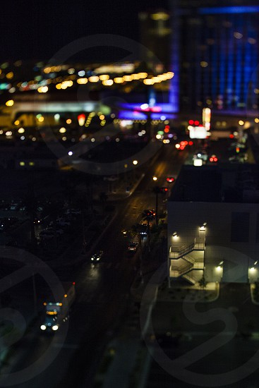 Las Vegas tilt shift lens dusk lights city sin city miniature trucks cars stairwell photo