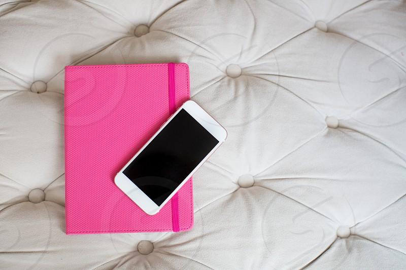 blank phone on desk photo
