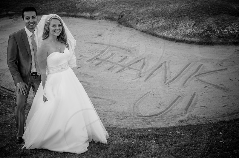 Bride and groom thank you photo