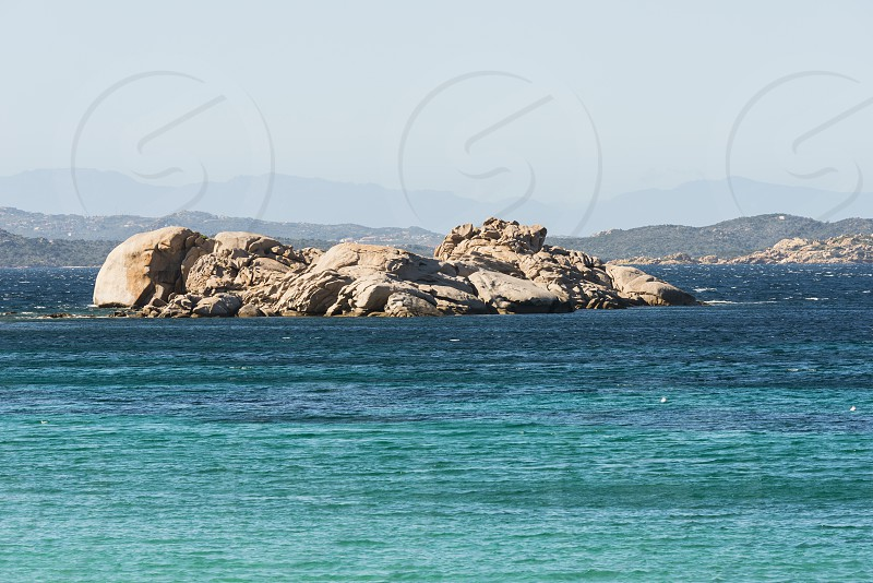 the norht east coastline of sardinia called costa smeralda with blue ocean and beautifull nature photo