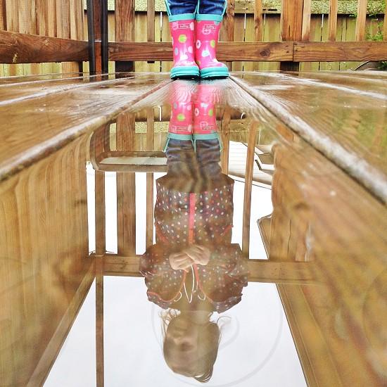 Rainy day puddle reflection  photo