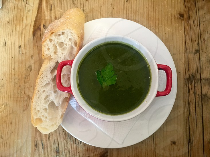 Vegan soup lunch food bread table vegetarian photo