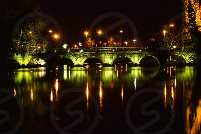Bright lights on the bridge photo