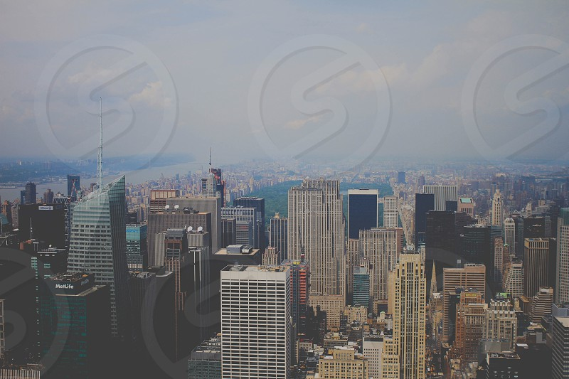 a city scape and a smoggy sky photo
