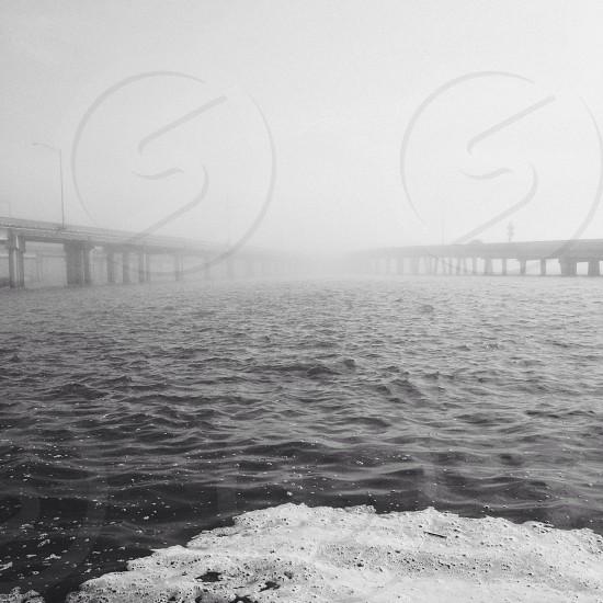 white bridge across the sea photo