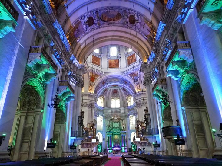 Salzburg Catherdal in festive illumination. photo