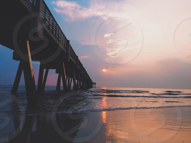 wooden beach dock  photo