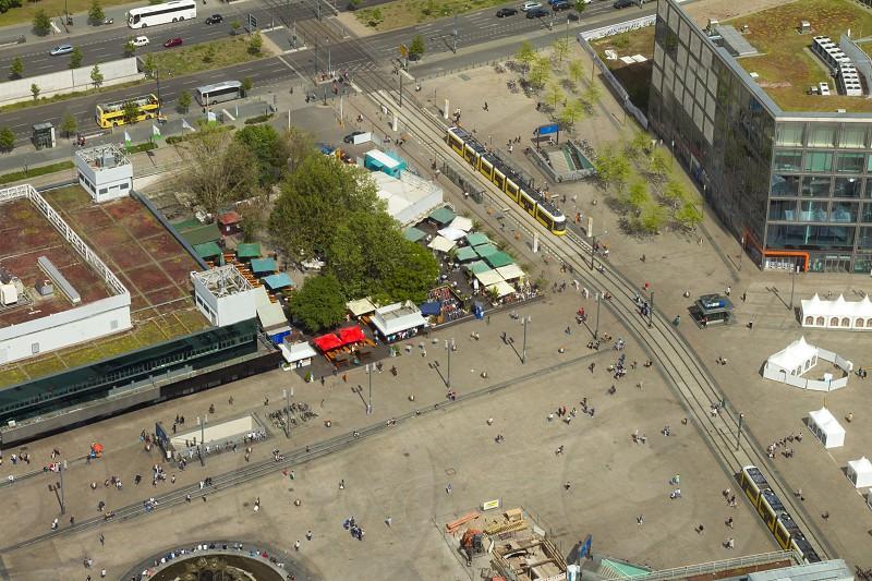 Aerial view of the Alexanderplatz public square in Berlin. photo