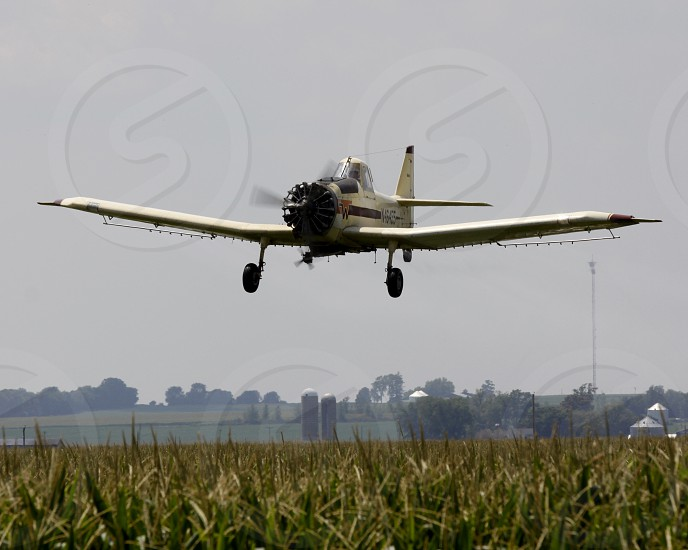 A single engine ag plane makes a pass over a corn field in north-central Illinois. photo
