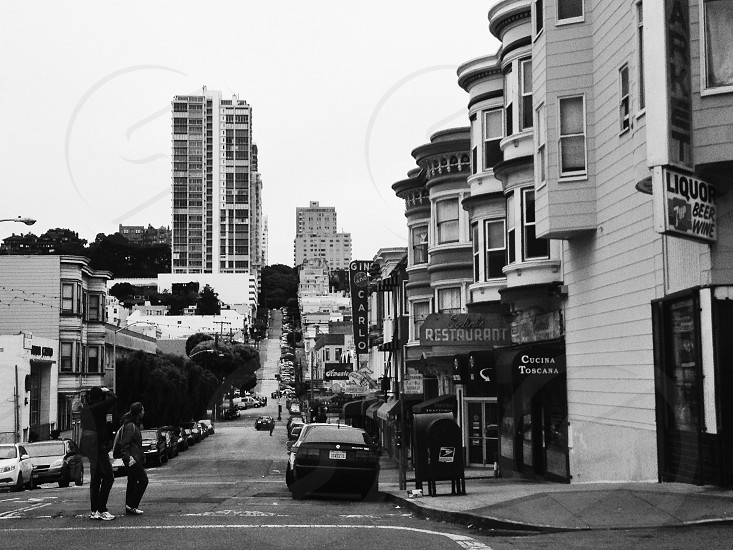 North Beach San Francisco in back and white photo
