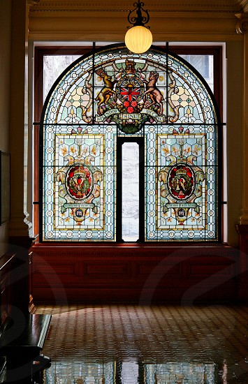 VICTORIA VANCOUVER ISLAND/BRITISH COLUMBIA - AUGUST 12 : Stained glass window in the British Columbia Parliament building in Victoria on August 12 2007 photo