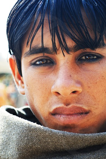 Some faces can never be forgotten.  India portrait eyes soul. photo
