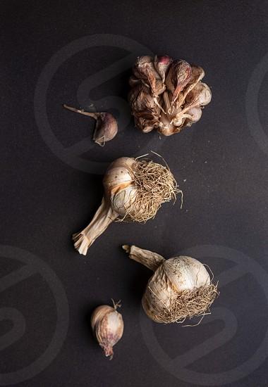 Overhead view of three garlic bulbs on a dark surface photo