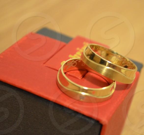 Wedding rings red box photo