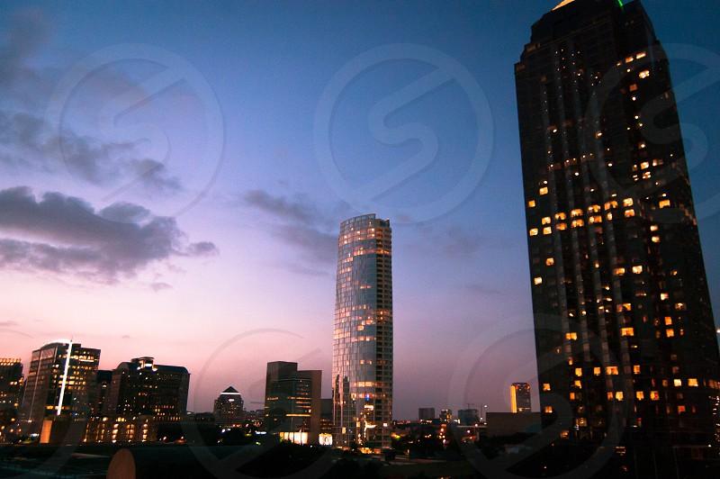 Dallas Texas city cityscape downtown urban tall buildings skyline  sunset light golden hour dusk evening  photo