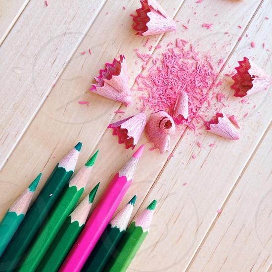 green pencil crayons photo