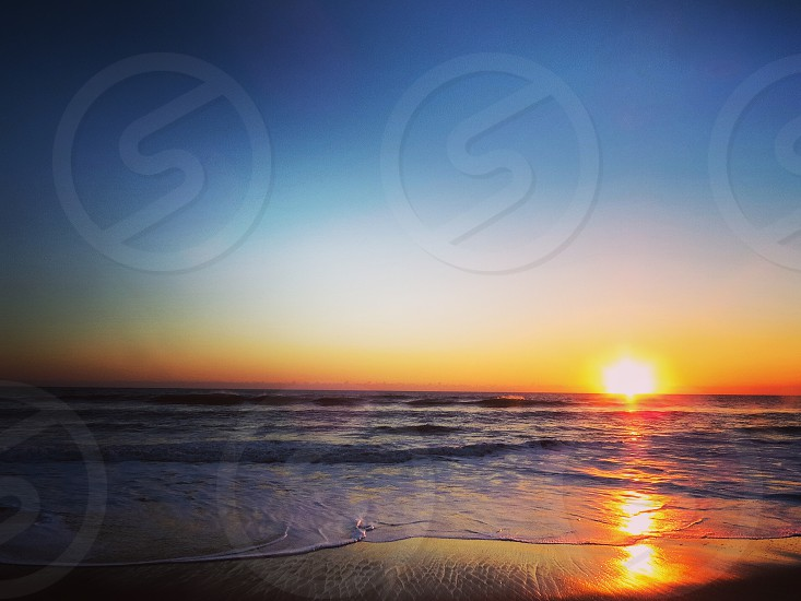 Beach ocean vacation waves nature sunrise calm summer spring Florida  photo