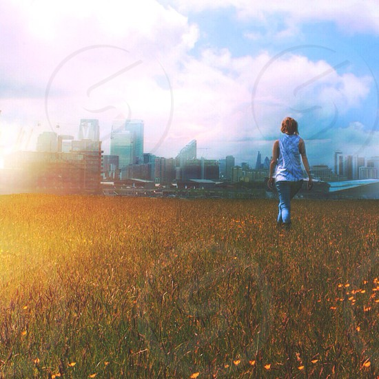 Chasing light. London City skyline. From afar in a golden field.  photo
