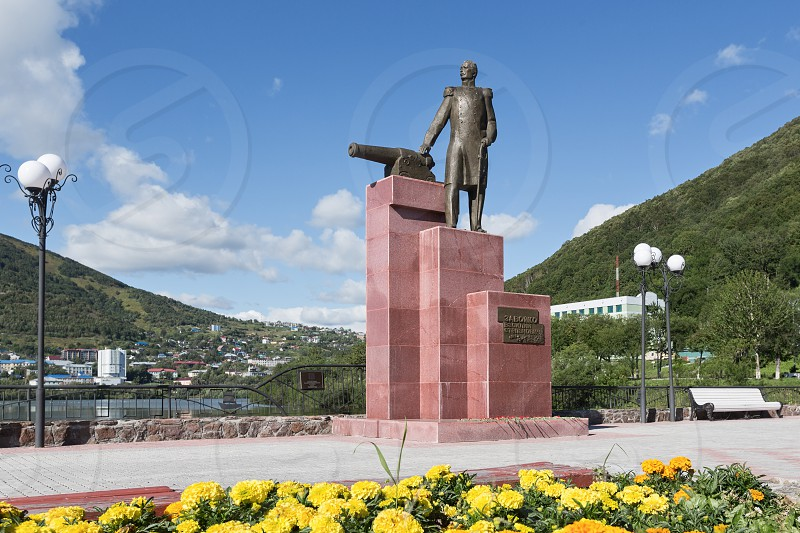 PETROPAVLOVSK-KAMCHATSKY KAMCHATKA RUSSIA - SEP 07 2015: View of the monument to the first Military Governor of Kamchatka V. S. Zavoiko in city of Petropavlovsk-Kamchatsky in the Russian Far East. photo