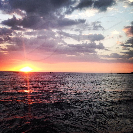 Hawaiian sunset of the cost of Kona. photo