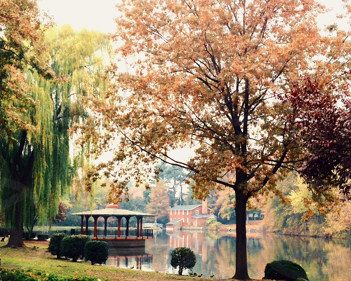 Lakeside gazebo autumn fall seasons colors New Jersey  photo