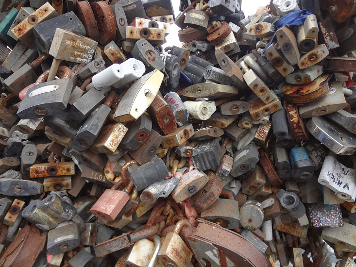 Aged locks each a promise from Moscow's Bridge of Kisses photo
