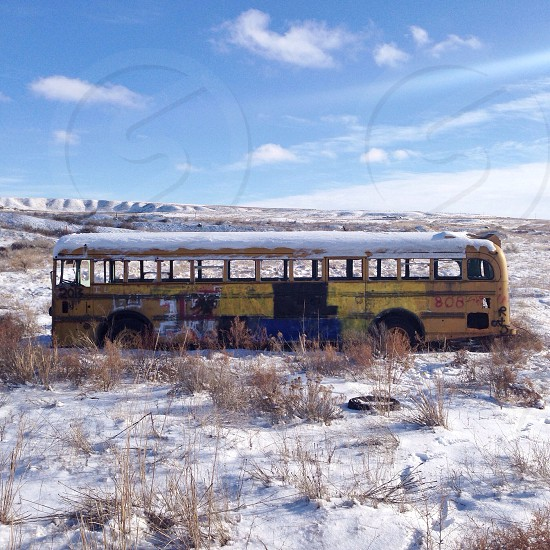 yellow bus in a snowy field photo