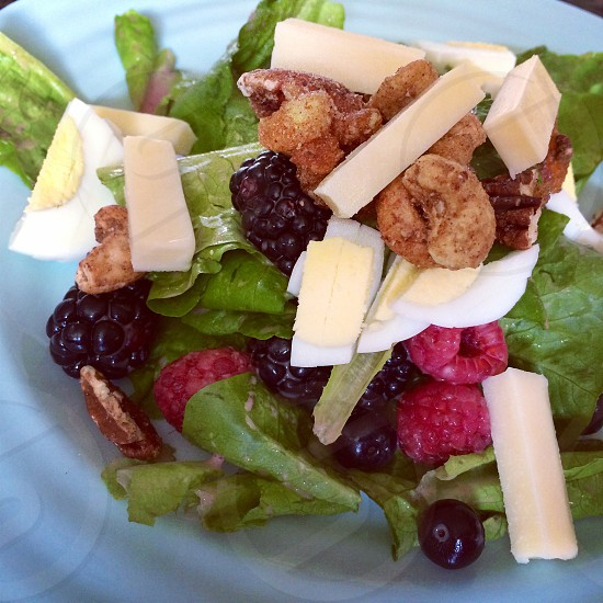 Berry Chopped Boiled Eggs Salad with Canadian Cheese Topped with Pecan-Cashew Nut Crispy with Cinnamon Apples + Peach  photo