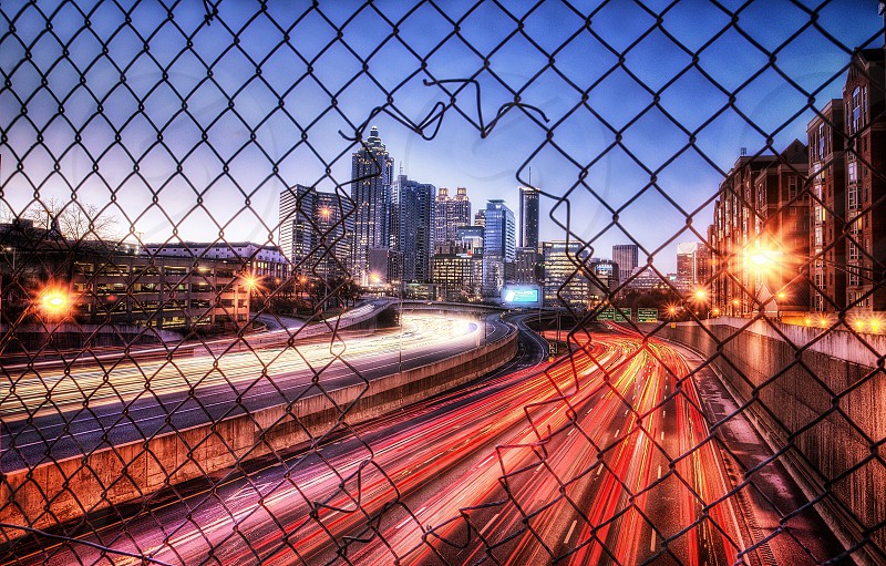 Artistic HDR image of an active city at sunrise. photo