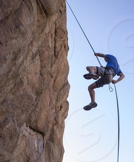 rappelling rope rock climbing rock climbing climb rappel photo