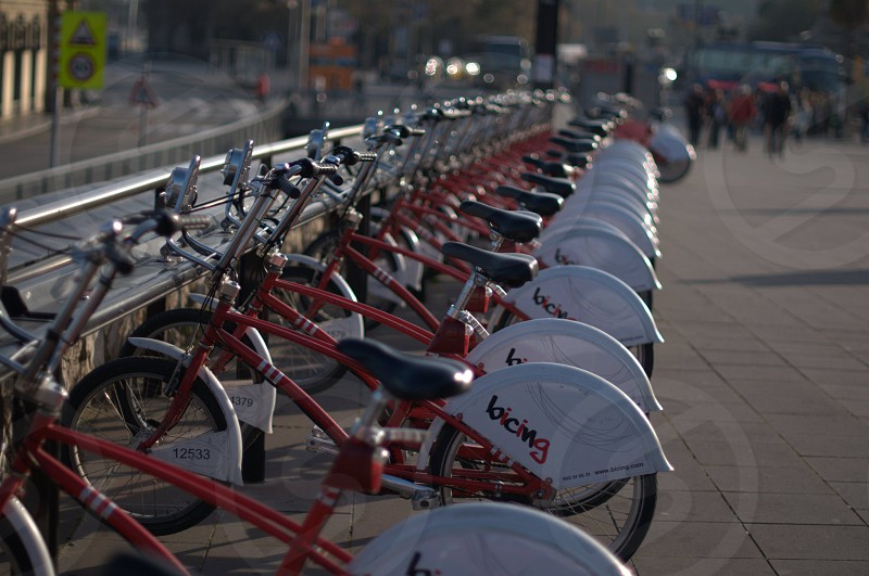 bicycles Spain Barcelona street sunset red bicycle parking commuting health lifestyle photo