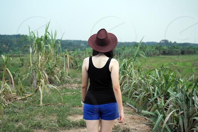 woman wearing black tank top and blue shorts walking near sugar cane during daytime photo