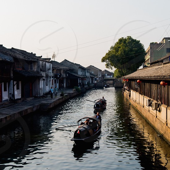 Boat; river; town; lifestyle; old;  photo