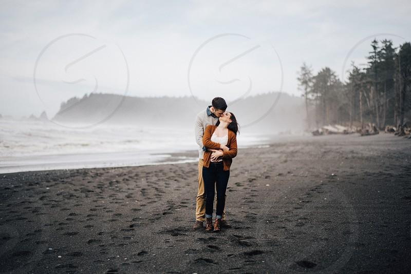 Ruby Beach engagement session in Washington.  photo
