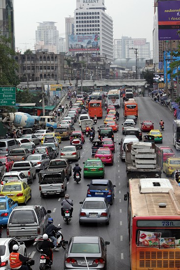cars  in the city centre at the pratunam aerea in the city of Bangkok in Thailand in Suedostasien. photo