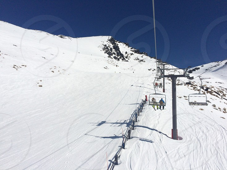 Skiing ski lift snow outside winter New Zealand Queenstown remarkables photo