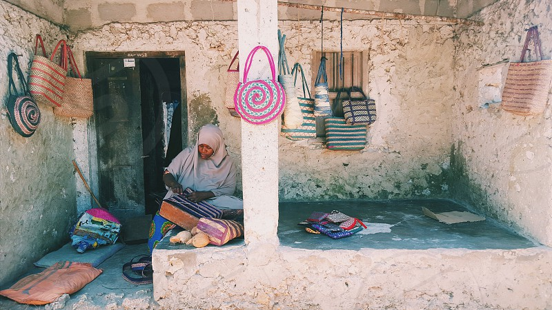 Nungwi zanzibar - women's society which sells handwoven bags and profits go to the women who make them and back into the community. photo