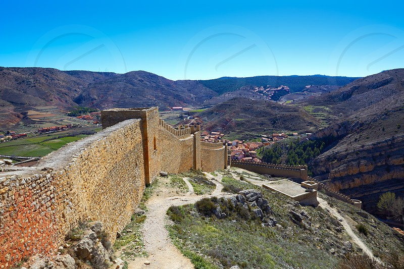 Albarracin medieval town fortress rampart village at Teruel Spain photo