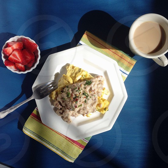 Scrambled Eggs with Scallions topped with Sausage Gravy photo