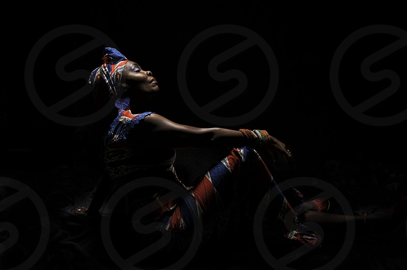 Stately Liberian woman in traditional dress photo